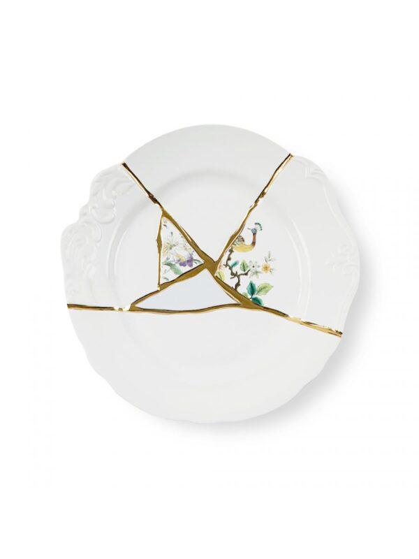 Kintsugi Dinner Plate Multicolored Motifs White | Multicolored | Gold Seletti Marcantonio Raimondi Malerba