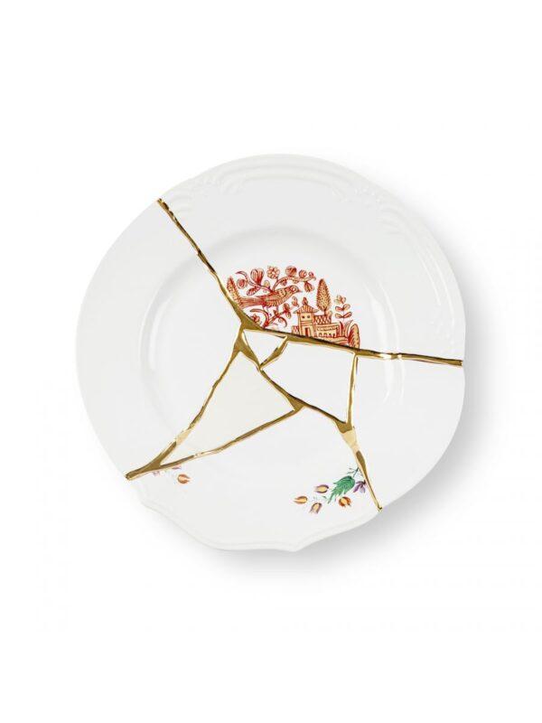 Assiette Kintsugi Rouge Motifs Blanc | Multicolore | Or Seletti Marcantonio Raimondi Malerba
