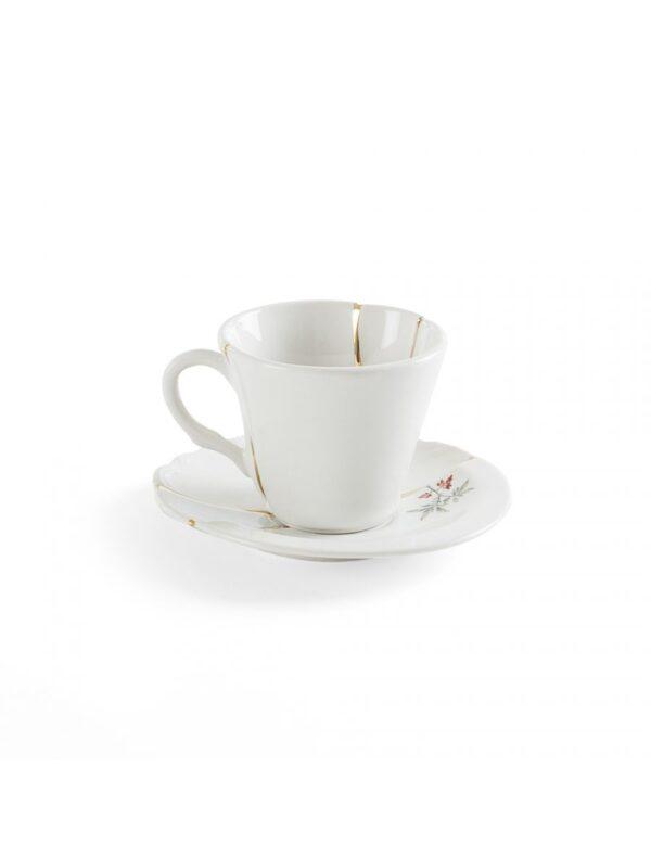Set Tazzine Da Caffè Kintsugi Fiore multicolore Bianco Multicolore Oro Seletti Marcantonio Raimondi Malerba
