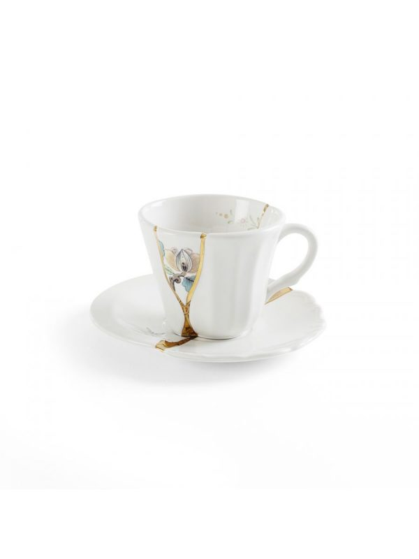 Conjunto de xícaras de café Kintsugi Flor multicolorida Branco | Multicolorido | Ouro Seletti Marcantonio Raimondi Malerba