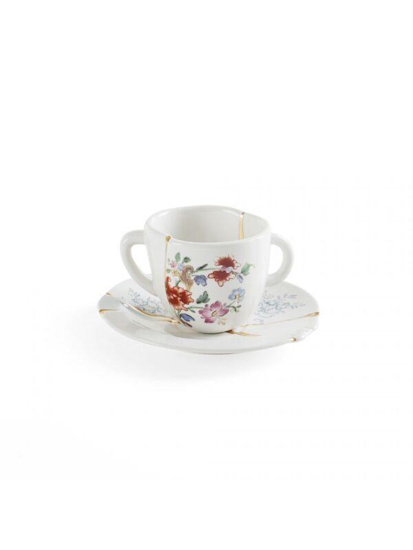 Kintsugi Kaffeetasse Set Mehrfarbige Blumen Weiß | Mehrfarbig | Gold Seletti Marcantonio Raimondi Malerba