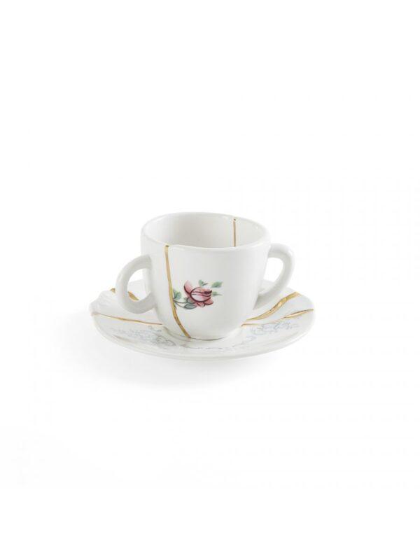 Set Tazzine Da Caffè Kintsugi Fiori multicolori Bianco Multicolore Oro Seletti Marcantonio Raimondi Malerba