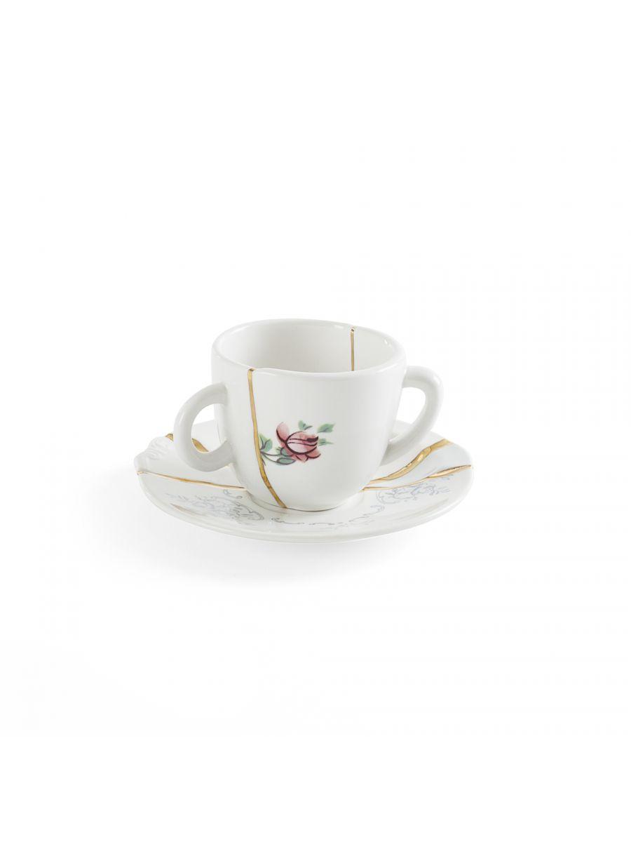 Ensemble de tasses à café Kintsugi Fleurs multicolores Blanc | Multicolore | Or Seletti Marcantonio Raimondi Malerba