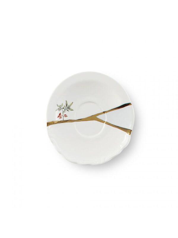 Set Tazzine Da Caffè Kintsugi Uccelli e fiori Bianco|Multicolore|Oro Seletti Marcantonio Raimondi Malerba