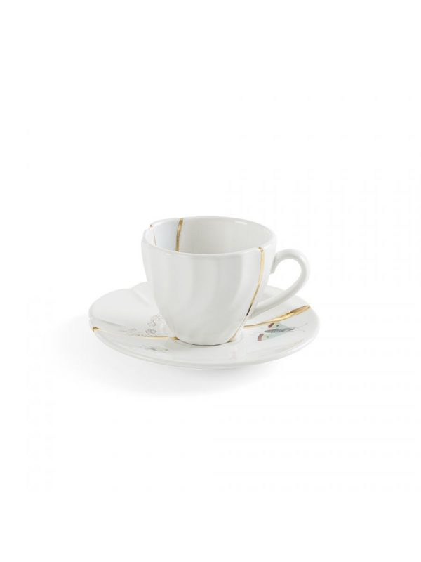Kintsugi Coffee Cup Set Birds and Flowers White | Multicolor | Gold Seletti Marcantonio Raimondi Malerba