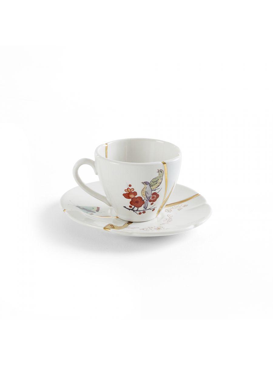 キンツギコーヒーカップセット鳥と花ホワイト|マルチカラー|ゴールドセレッティマルカントニオライモンディマレルバ