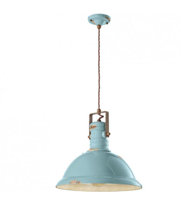 Lámpara de suspensión Industrial C1690 en azul de Ferroluce 1
