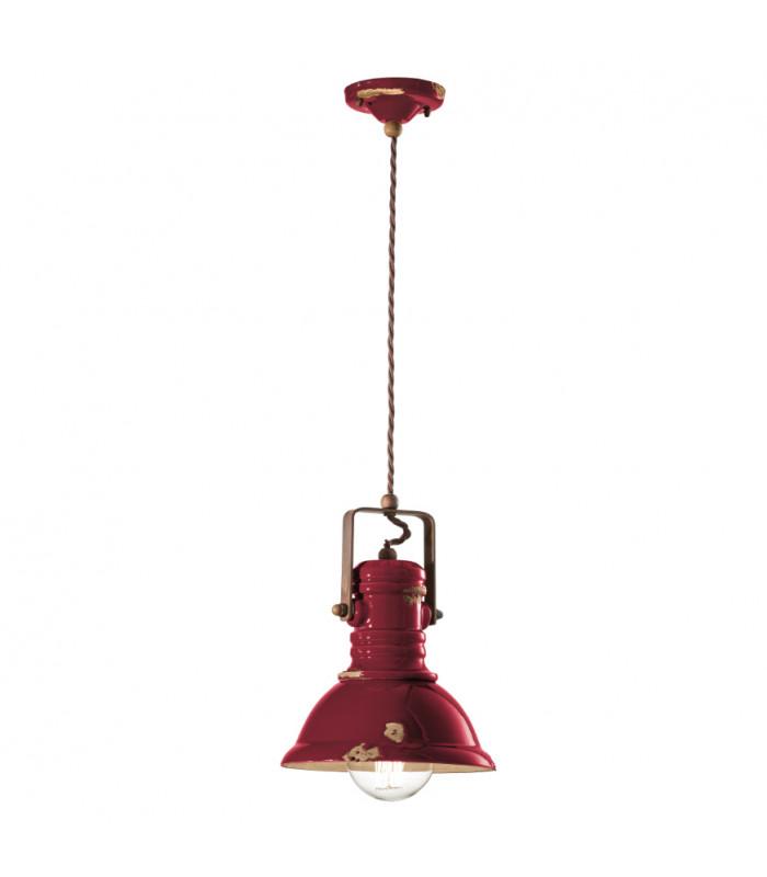Lámpara de suspensión industrial C1691 en burdeos de Ferroluce 1