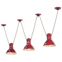 Industrial C1692 Red Suspension Lamp της Ferroluce 1