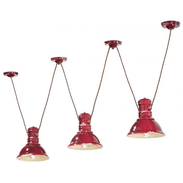 Lámpara de suspensión Industrial C1692 en rojo de Ferroluce 1