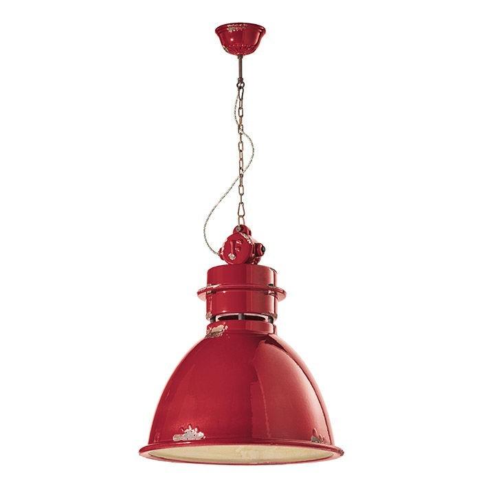 Lámpara de suspensión Industrial C1750 en rojo de Ferroluce 1