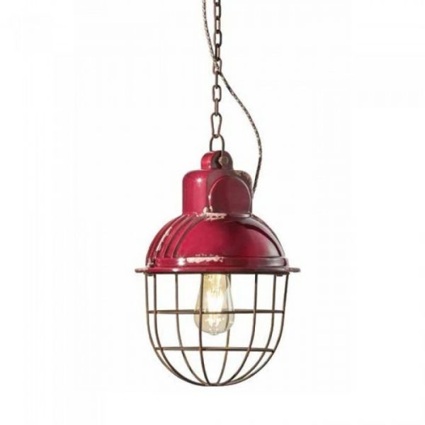 Industrial C1770 Bordeaux Suspension Lamp by Ferroluce 1