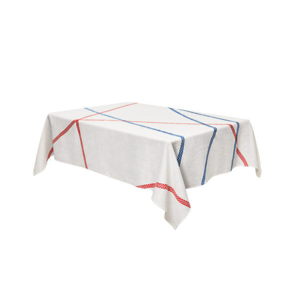 Tablecloth Lugo - 230 140 cm x Blue | Red internoitaliano Irene Bacchi | Leonardo Sonnoli
