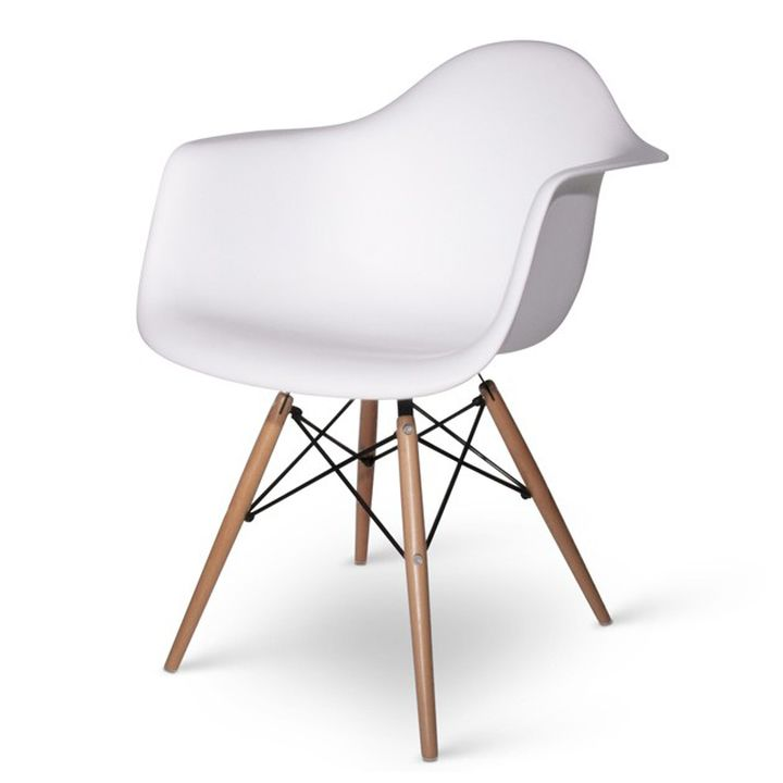 Tower Wood Arm Chair White