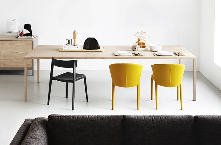 Calligaris-HERON-WOOD table-AMELIE chair