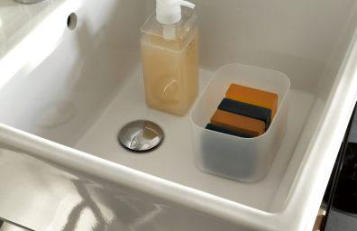 Colavene - Acquaceramica lavabo con piano in teak 50x50cm Ph.R.Costantini