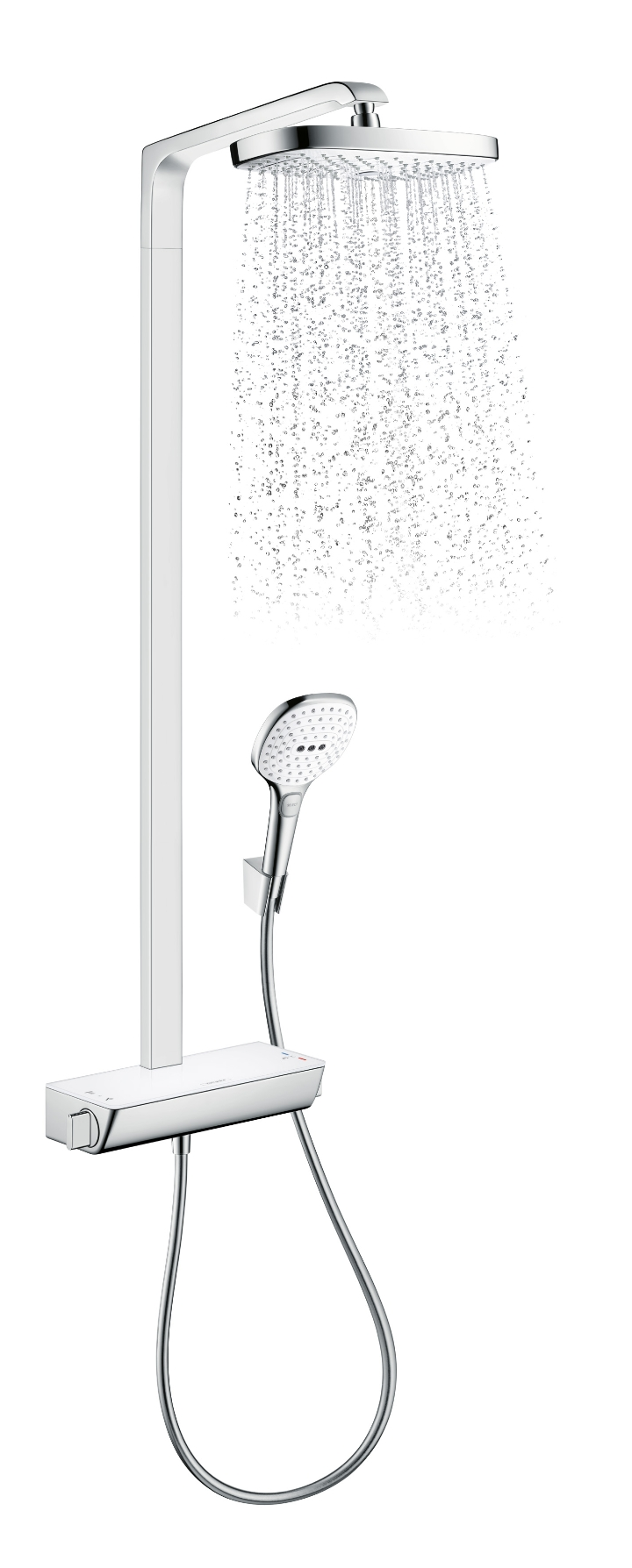 HansgroheRaindanceSelect E 300 Showerpipe finitura bianco cromo