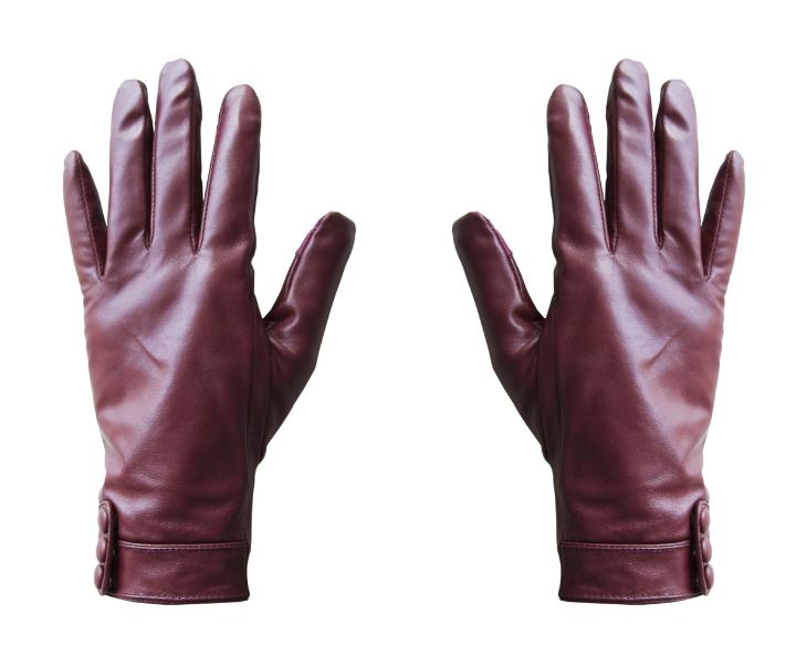 salut-gants femme en cuir rouge