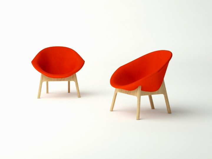 Lily Chair por Michael Sodeau - base de madeira