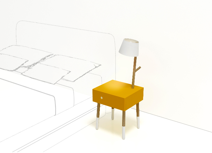 Twig-bedside table with lamp