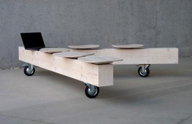 無垢材の木材、デザインディエゴ・シロでBedontベンチ