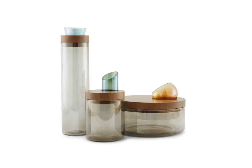 Glass containers Oasis, design by Manuela Di Loreto