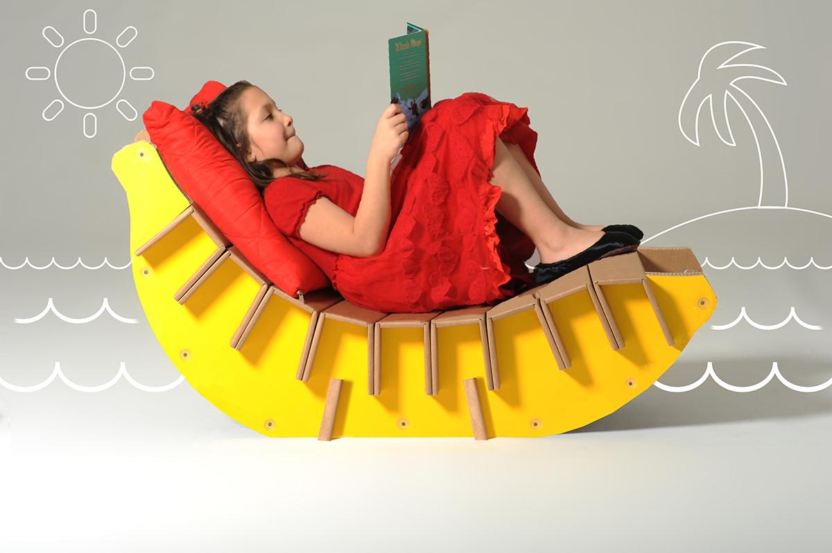 Arredi in cartone per bambini chaise longue Bonita