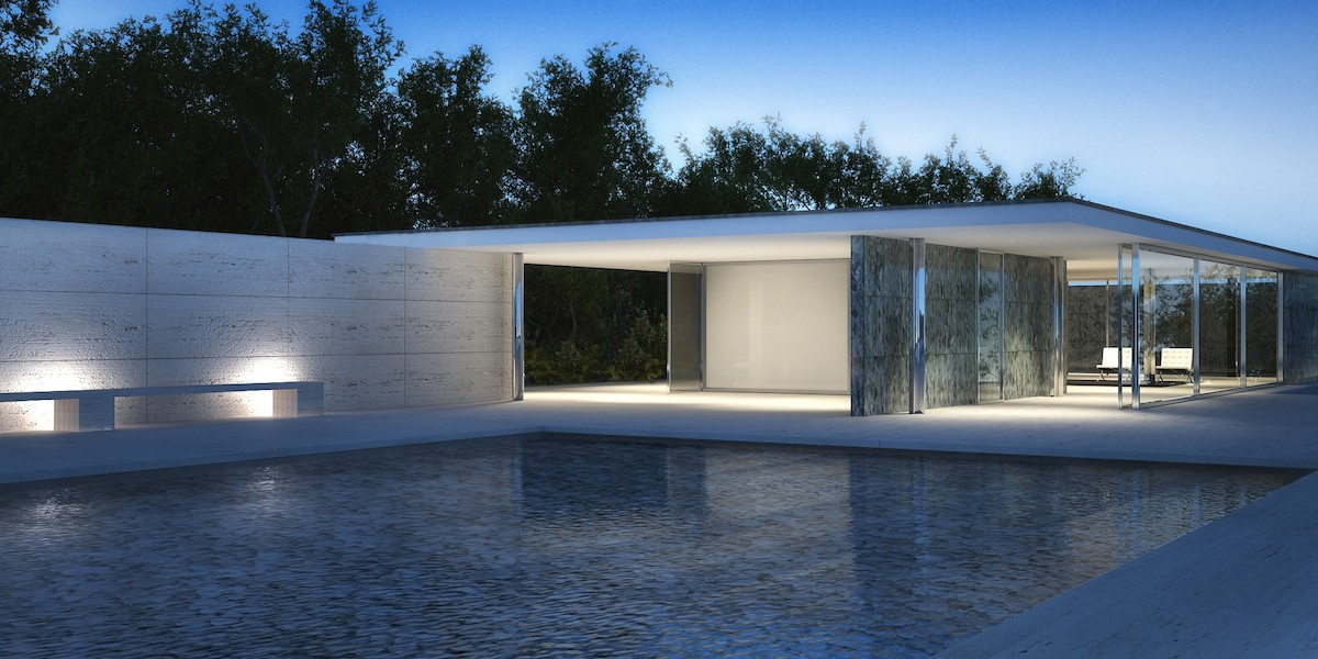 Barcelone wout nan dekouvèt la nan konsepsyon, Pavilion la Alman nan Egzibisyon an Inivèsèl sou 1929 mi van der Rohe