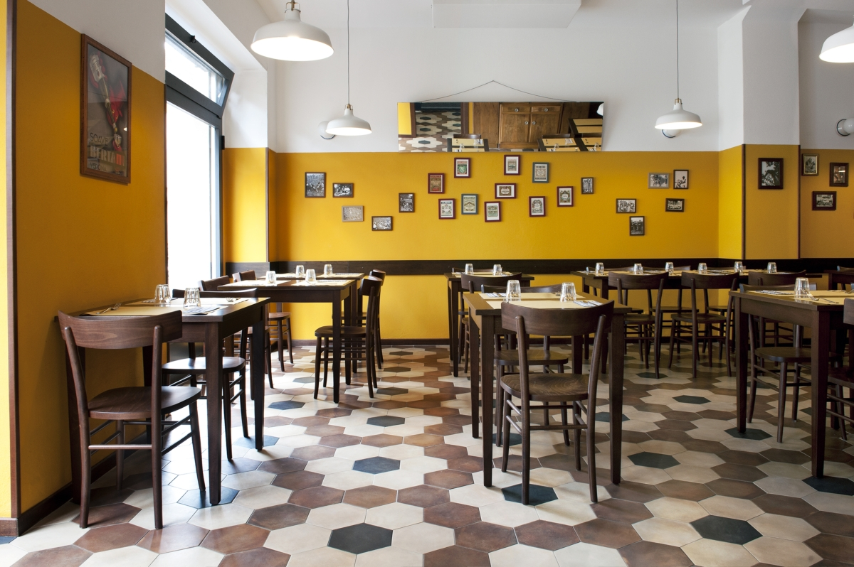 Tripe restaurant in Milan, old school restaurant interior design vintage 15