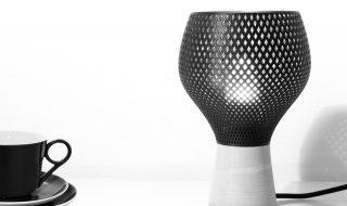 Lampada Tablerumble, prodotta utilizzando tecniche di 3d-printing