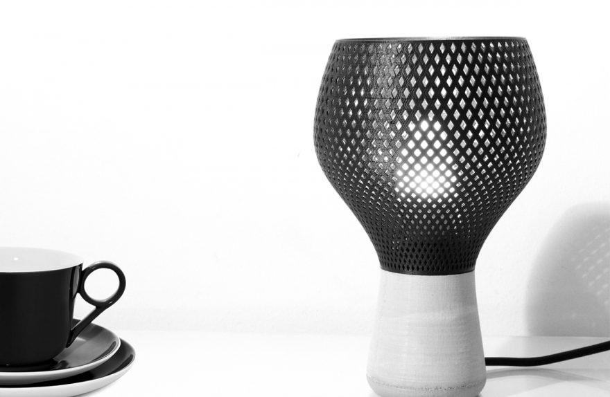 Tablerumble lamp, produced using 3d-printing techniques