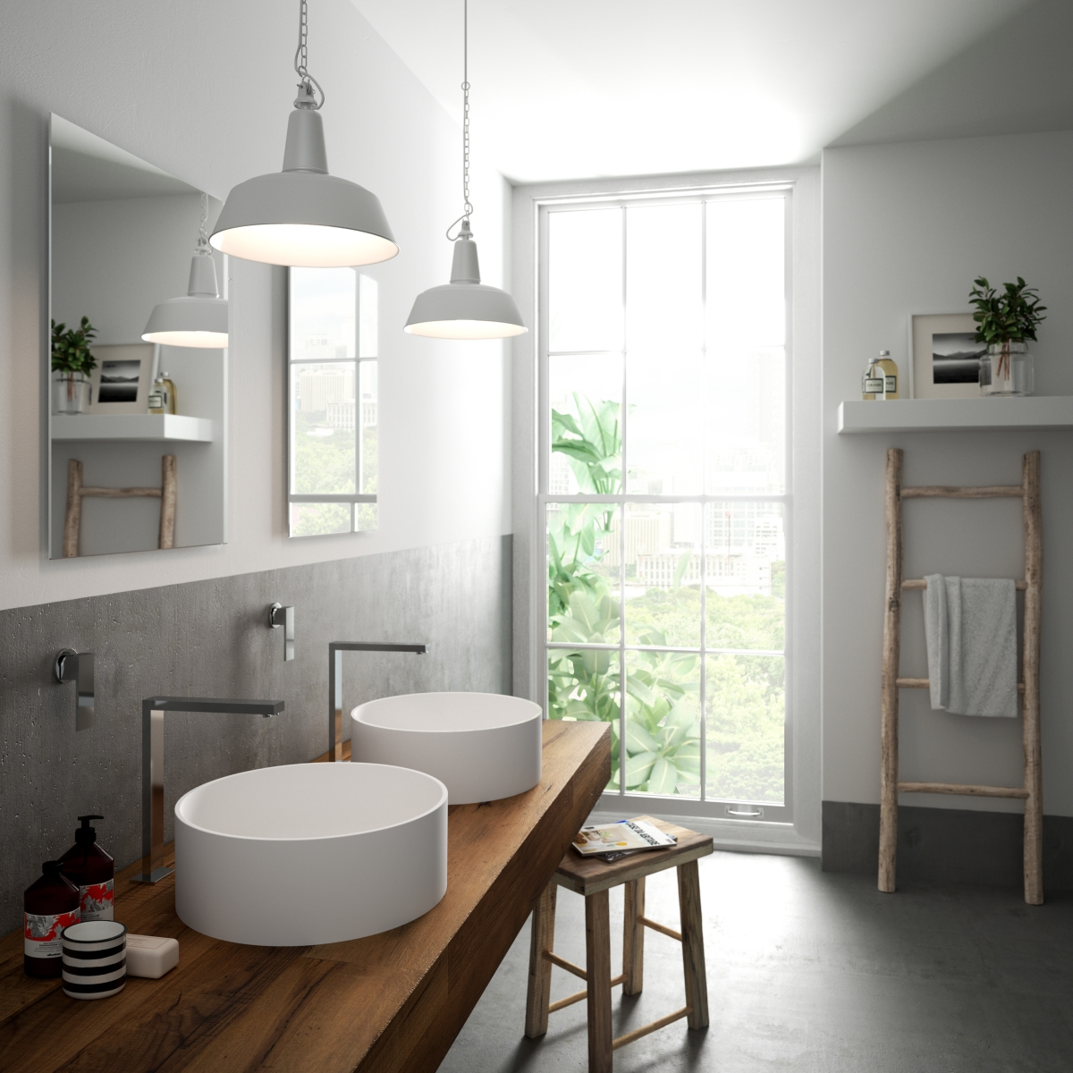 Lumières Salut-Macs et couleurs dans les bassins de collecte de salle de bains