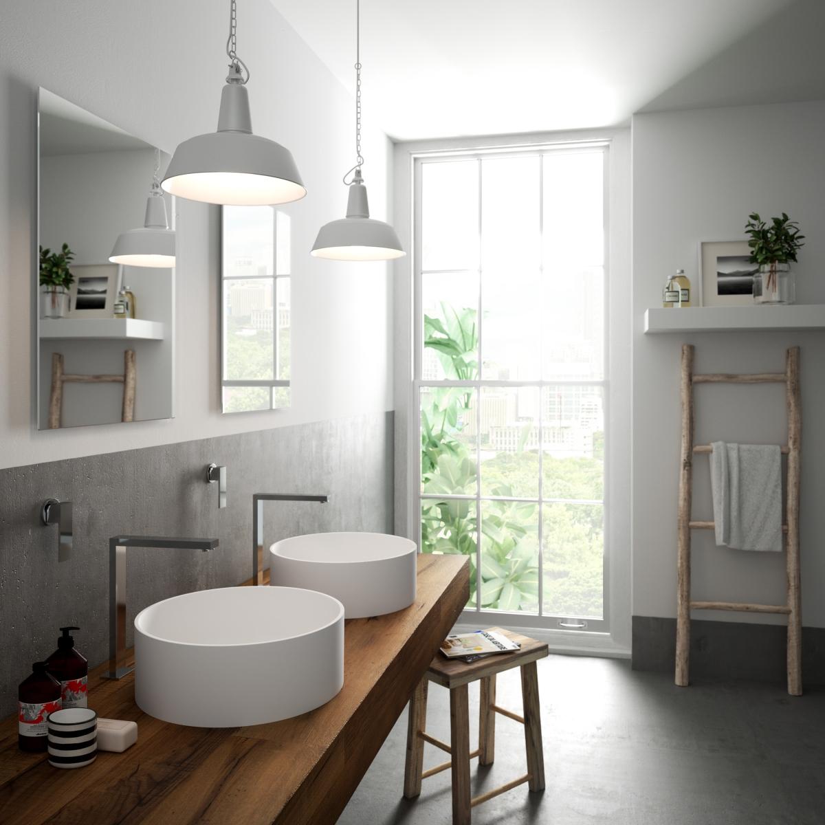 Hi-Macs lights and colors into the bathroom collection basins