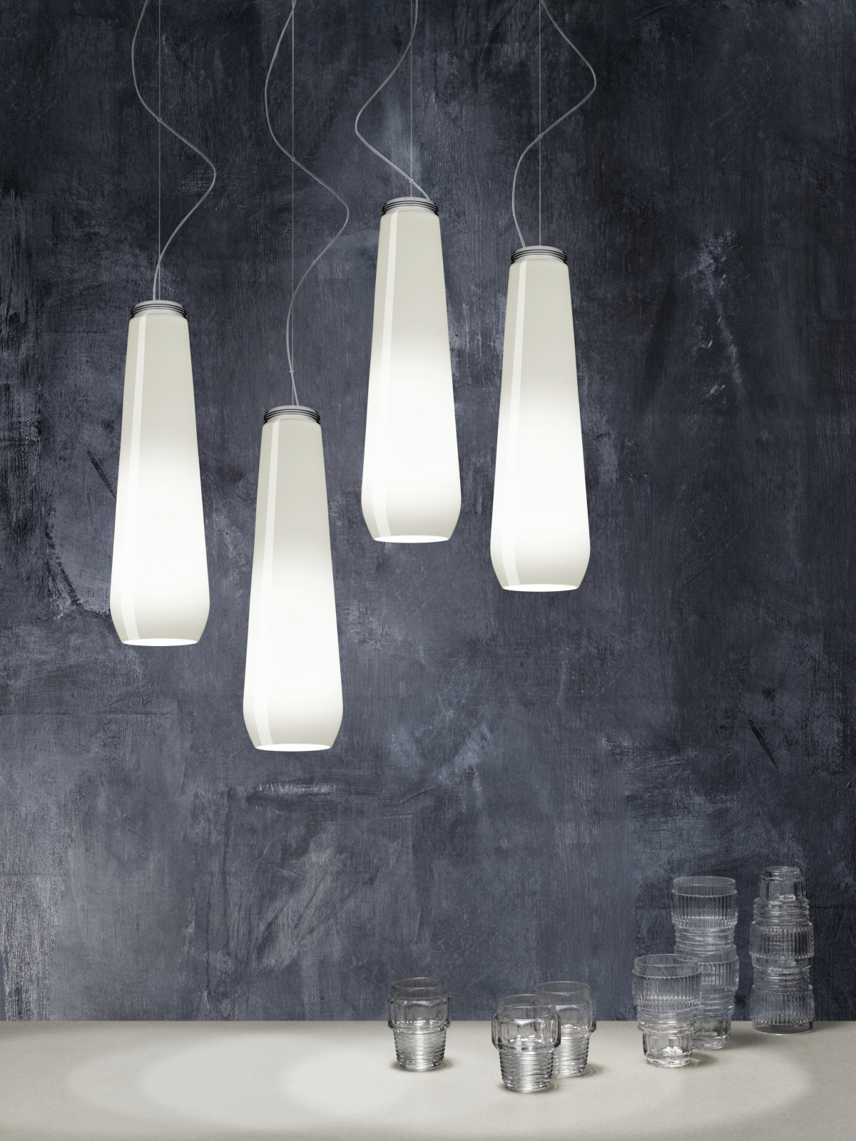 Glass Drop white Living Diesel with Foscarini