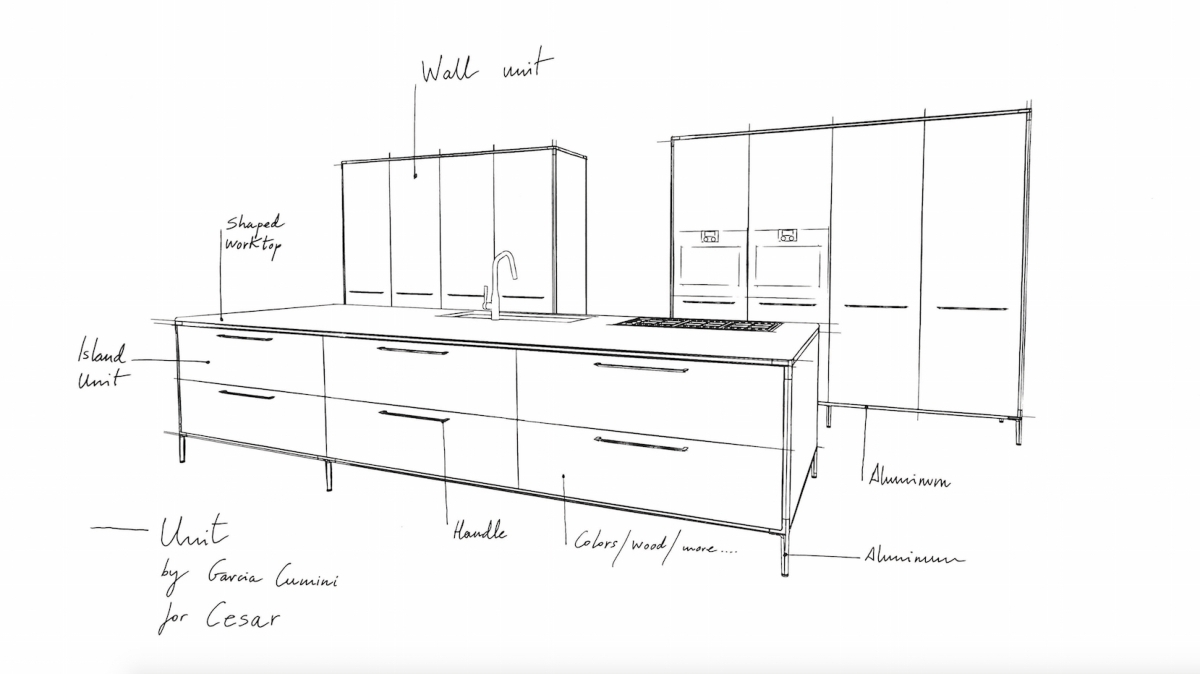 Cesar Kitchen Unit, Garcia Cumini design - preview Fuorisalone 2016