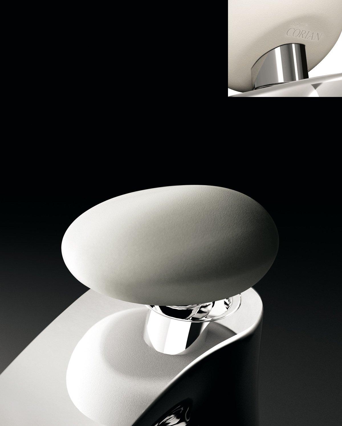 Detail shaped handle tap stone floor Synergy Stone 95 basin