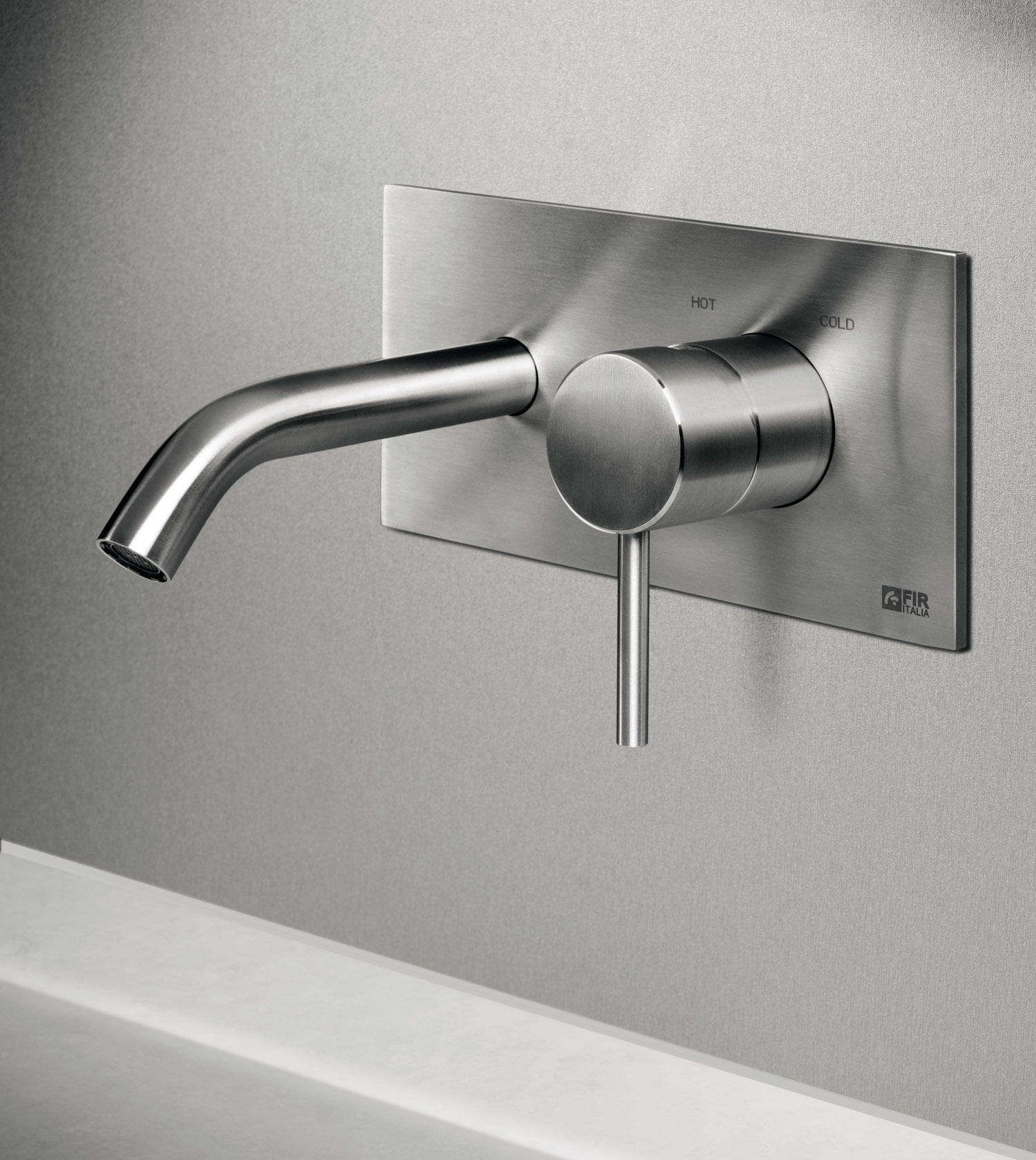 Tap recessed wall CleoSteel 48 basin. Finish Brushed Stainless Steel
