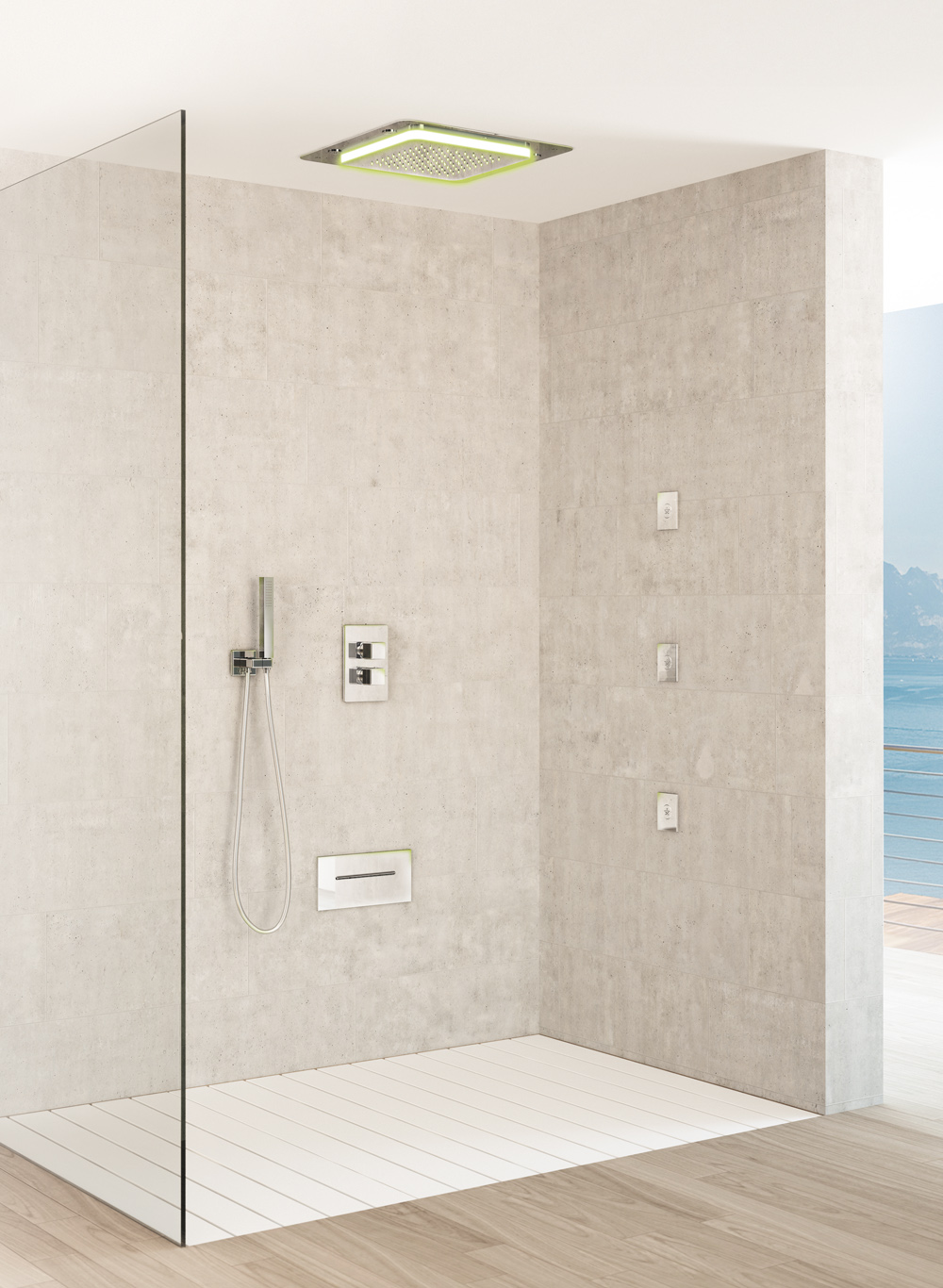Multifunction showerhead shower Playone recessed ceiling, heads lateral body jet shower