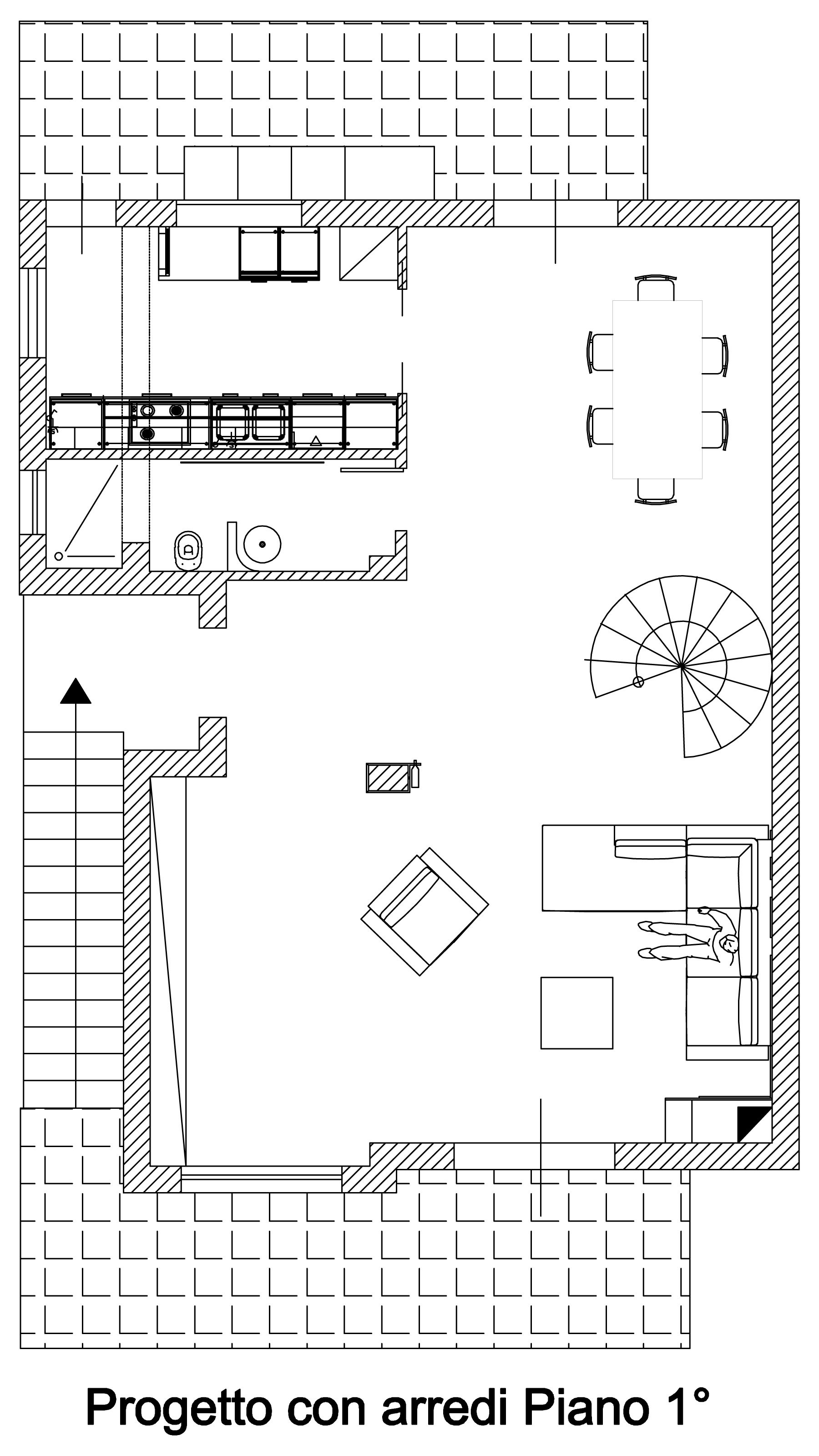 アーチarnone-インテリアデザイン・オブ・unabitazione-の-2-レベル階最初に
