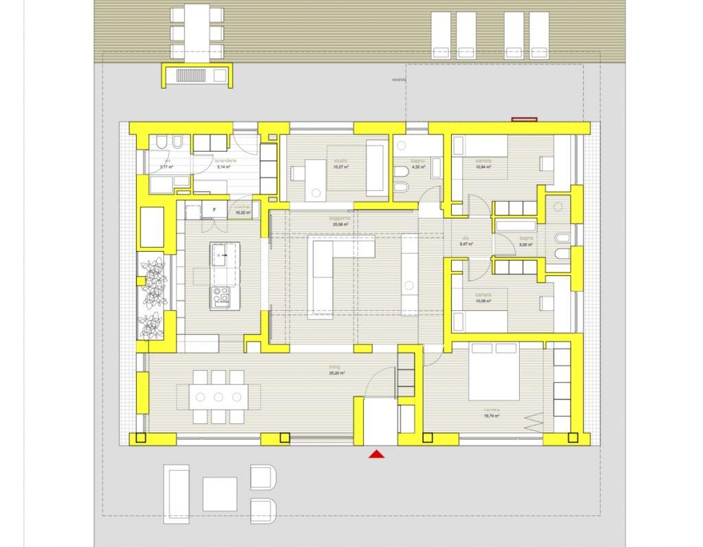 Villa PNK una casa ecosostenibile Studio m12 AD, planimetria