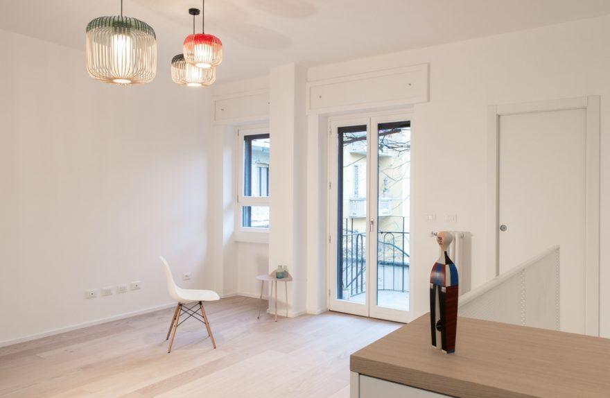 White and inspiration to Scandinavian design, Plus Ultra studio, duplex conversion Milano