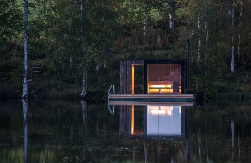 sauna flutuante pequena oficina de arquitetura