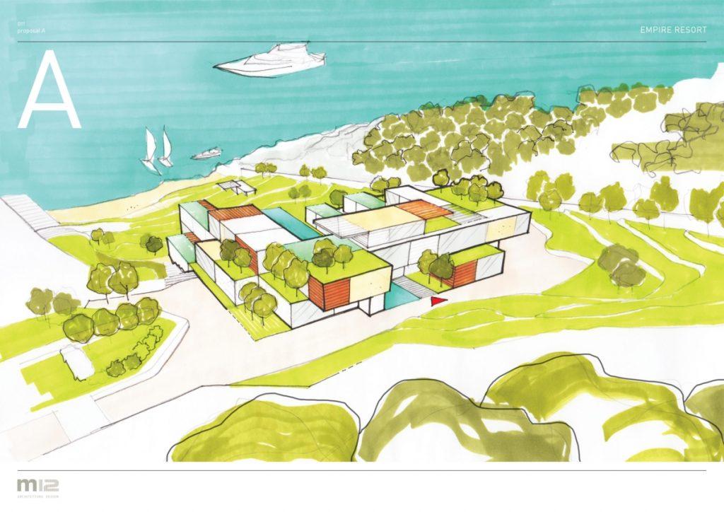 um resort que se mistura com esboços de design paisagístico