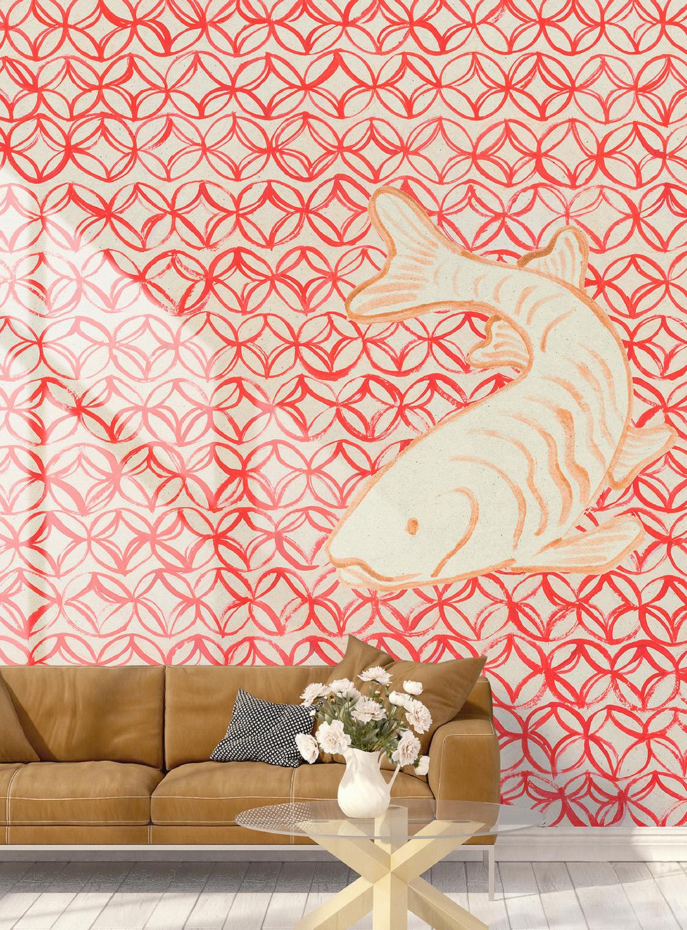 Wallpepper papel tapiz oriental rojo