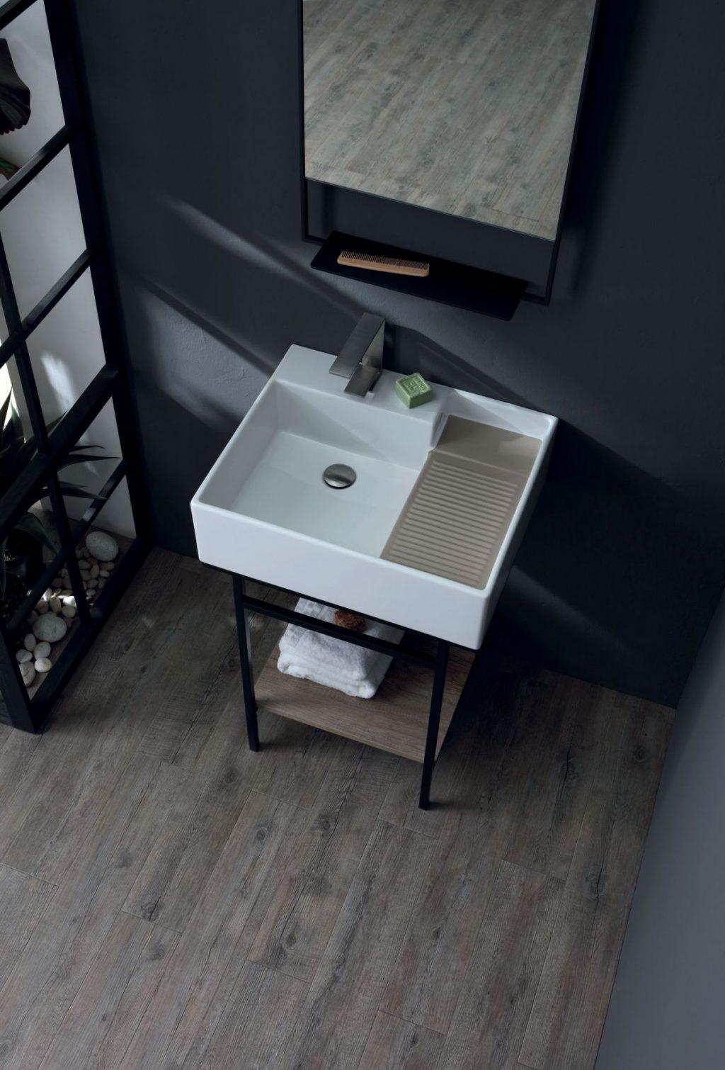 Colavene Acquaceramica Nobu, 60x50 cm blanc et mater mat