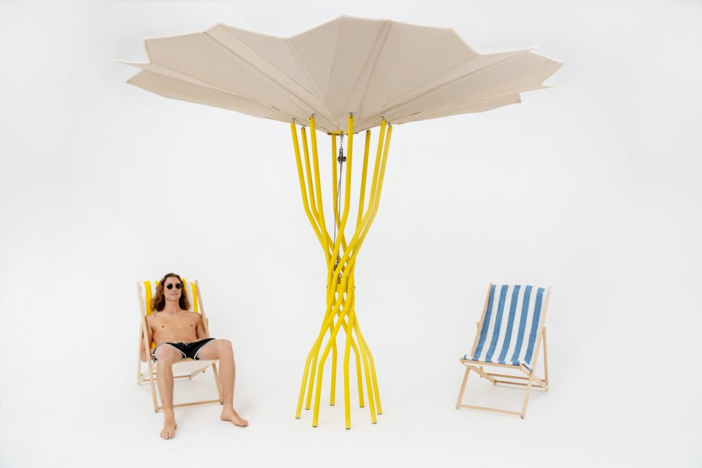 Photovoltaik-Schirme nachhaltiges Strandbad der Zukunft Sammontana, Design Carlo Ratti Associati