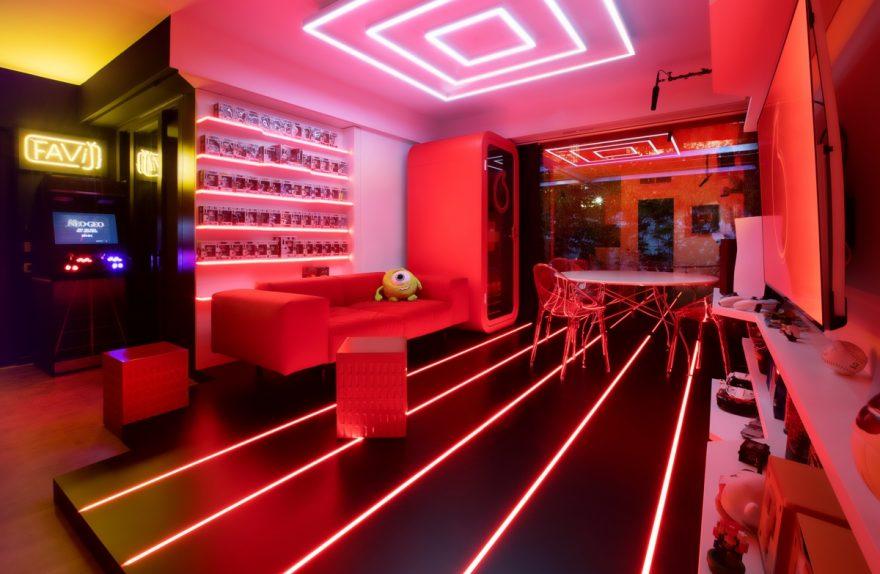 Gaming room Favij progetto Fabio Novembre